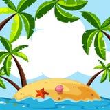 Achtergrondscène met kokospalmen op eiland Royalty-vrije Stock Fotografie