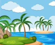 Achtergrondscène met kokospalmen op eiland Royalty-vrije Stock Afbeelding