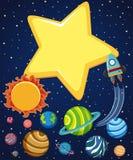 Achtergrondscène met raket en planeten in ruimte royalty-vrije illustratie