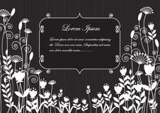 Achtergrondsilhouetten van witte bloemen op een zwarte Li als achtergrond Vector Illustratie