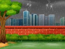 Achtergrondstadsscène met onweersbui en bliksem stock illustratie