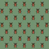 Achtergrondtextuur in oosterse stijl - een patroon van een rinoceroskever De insecten zijn oranje op een groene achtergrond stock illustratie