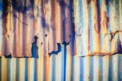 Achtergrondtextuur van de muur van oud zinkblad, wi van het metaalblad Royalty-vrije Stock Foto's