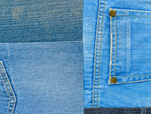 Achtergrondtextuur van denimstof met zakken en gestikte naden met knopen en klinknagels van verschillende stukken jeans Stock Foto's