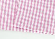 Achtergrondtextuur van roze plaidstof Stock Foto's