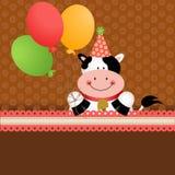 Achtergrondverjaardagskoe met ballons Royalty-vrije Stock Foto