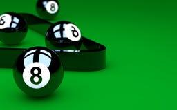 Achtergruppe Kugeln auf grüner Pooltabelle Stockbild