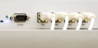 Achterkant van aangesloten router Royalty-vrije Stock Foto