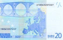 Achterkant van 20 euro - macrofragmentbankbiljet Stock Foto