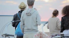 Achterkantgroep mensen, het letten op zonsondergang bij de kust in de zomeravond stock video