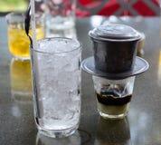 Achterkoffie met melk Stock Foto