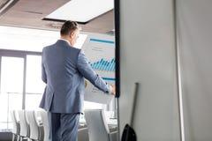 Achtermening die van zakenman grafiek op grafiek in raadsruimte analyseren Royalty-vrije Stock Foto's
