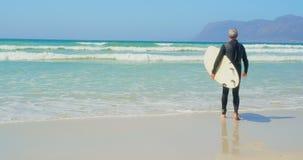 Achtermening van actieve hogere Kaukasische mannelijke surfer die met surfplank op het strand 4k lopen stock video