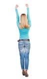 Achtermening van dansende jonge mooie vrouw Royalty-vrije Stock Foto