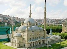 Achtermening van de blauwe moskee Stock Foto