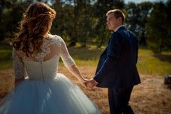 Achtermening van de charmante modieuze jonggehuwden die handen houden terwijl het lopen langs de zonnige weide stock afbeelding