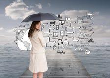 Achtermening van de elegante paraplu van de onderneemsterholding Stock Afbeelding