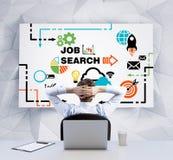 Achtermening van de ontspannende zakenman met gekruiste handen achter zijn hoofd, dat whiteboard met de pictogrammen van het Baan Stock Afbeelding
