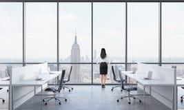 Achtermening van een brunette dat uit het venster in het moderne panoramische bureau met de mening van New York kijkt Wit lijsten Stock Foto
