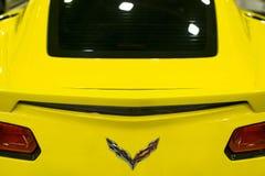 Achtermening van een geel Chevrolet-Korvet Z06 Auto buitendetails Stock Afbeeldingen
