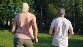 Achtermening van een hoger sportief paar die in het park lopen stock footage