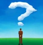 Achtermening van een mens die die een wolk bekijken als een vraagteken wordt gevormd Royalty-vrije Stock Fotografie