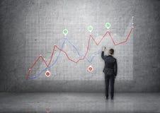 Achtermening van een zakenmantekening het toenemen grafiek op concrete muur Royalty-vrije Stock Fotografie