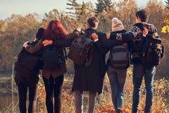 Achtermening van jonge vrienden die samen en het meer in mooi de herfstbos koesteren bekijken stock foto