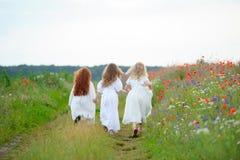 Achtermening van kinderen die in openlucht spelen Drie meisjes stellen zich het bewegen a in werking Stock Foto