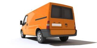 Achtermening van oranje bestelwagen Stock Foto's