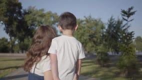 Achtermening van oudere zuster het besteden tijd met het jongere broer babbelen in het de zomerpark Vrije tijd in openlucht vrien stock footage