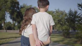 Achtermening van oudere zuster met het jongere broer babbelen in het de zomerpark Vrije tijd in openlucht Vriendschappelijke rela stock video