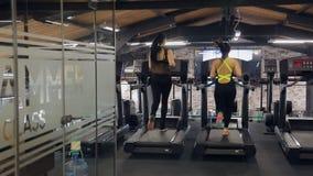 Achtermening van slanke atletenvrouwen die op een tredmolen in een gymnastiek lopen stock videobeelden
