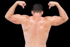 Achtermening van spieren van een shirtless spiermensenverbuiging Royalty-vrije Stock Afbeelding