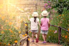 Achtermening van twee hand houden en meisjes die samen lopen stock fotografie