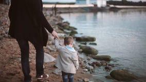 Achtermening van vader en zoon op de handen van de strandholding en het lopen langs de kust bij zonsondergang stock video