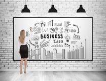 Achtermening van van de bedrijfs vrouwentekening ideepictogrammen royalty-vrije stock afbeelding