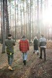 Achtermeningsfoto van groep vrienden die in openlucht lopen stock fotografie