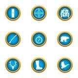 Achtervolg geplaatste pictogrammen, vlakke stijl stock illustratie