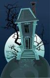 Achtervolgd de heksenhuis van Halloween royalty-vrije illustratie