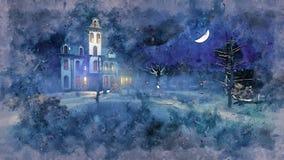 Achtervolgd herenhuis bij de waterverfschets van de mysticusnacht vector illustratie
