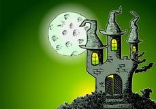 Achtervolgd kasteel in een volle maannacht royalty-vrije illustratie