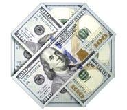 Achthoek van honderd ons dollarbankbiljetten Op donkere achtergrond royalty-vrije stock foto's
