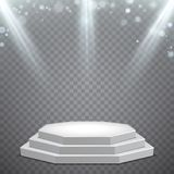 Achthoekig podium met lichtblauwe verlichting royalty-vrije illustratie