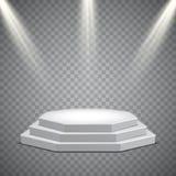 Achthoekig podium met verlichting, vectormalplaatje royalty-vrije illustratie