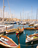 Achts and boats in the bay near Valletta Stock Image