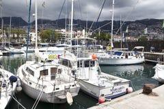 Achts FUNCHALS, MADEIRA machten in Funchal-Seehafen, Madeira-Insel, Portugal fest Lizenzfreie Stockfotos