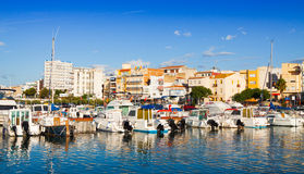 Achts in port of typical mediterranean town Stock Photography