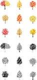 Achttien Autumn Tree Icons Royalty-vrije Stock Foto