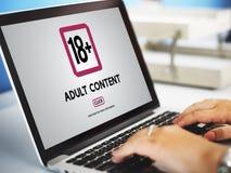 Achttien plus Volwassen Expliciete Inhoudswaarschuwing Stock Foto